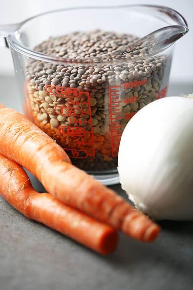 Lentils carrots white onion