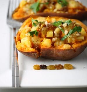 Pineapple walnut baked sweet potato so good