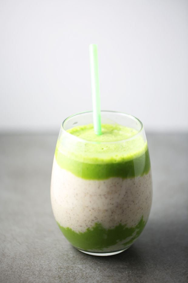 Spinach Pineapple Banana Smoothie With Chia Seeds Food
