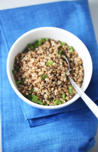 Healthy pan-fried buckwheat Vegan