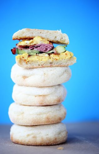 Egg Bacon Pastrami on English Muffin Breakfast